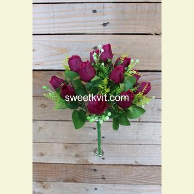 Искусственная роза букет, 27 см