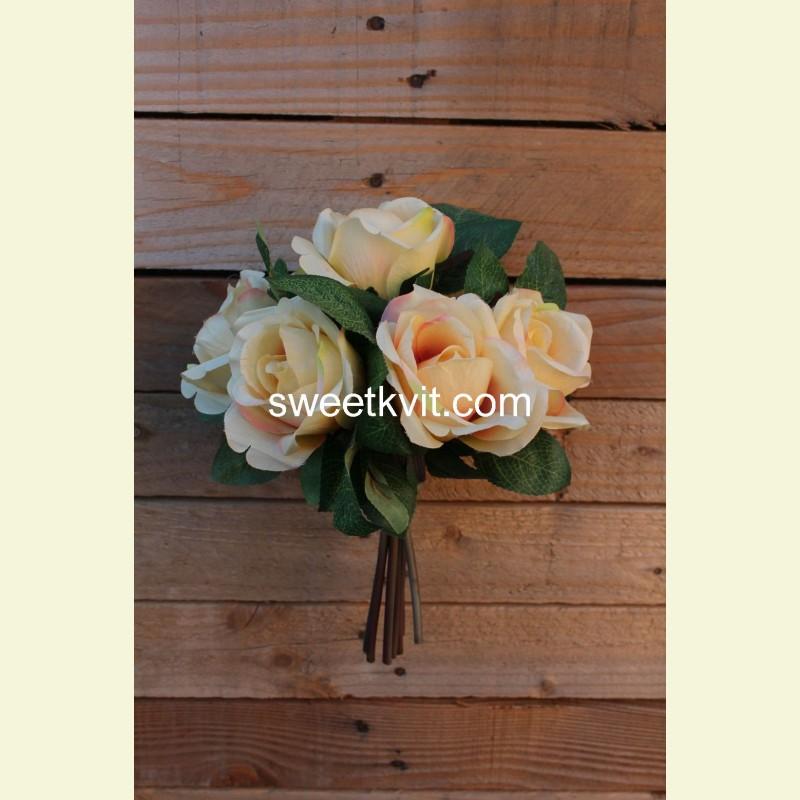 Искусственная роза пучок, 28 см