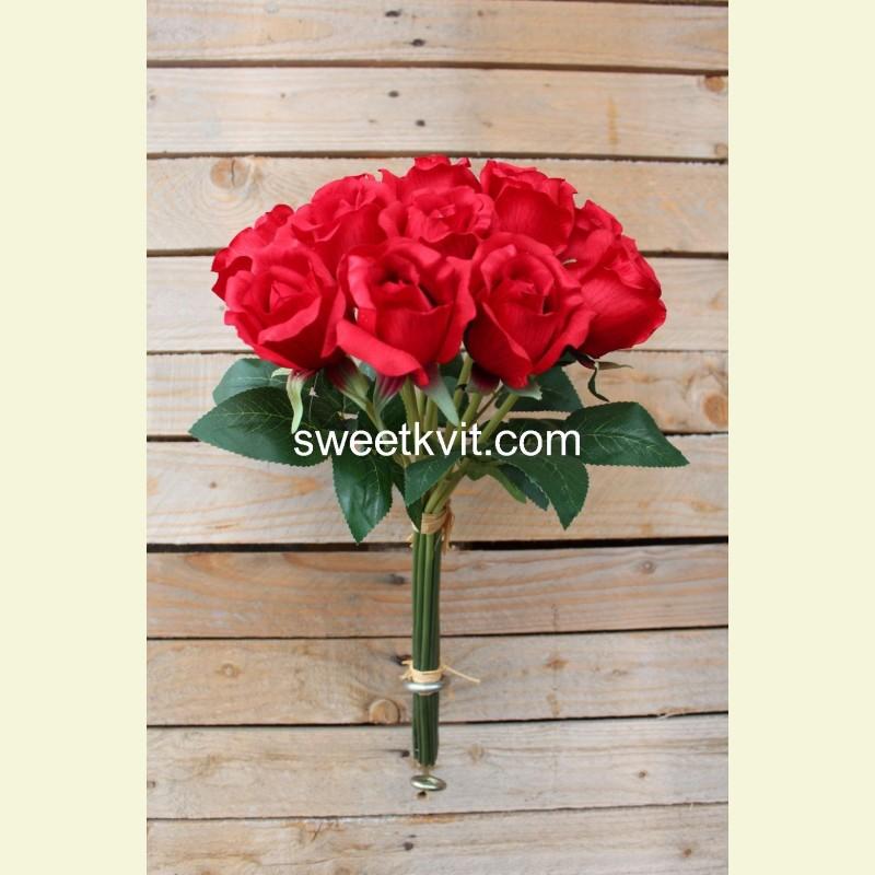 Искусственная роза пучок, 46 см