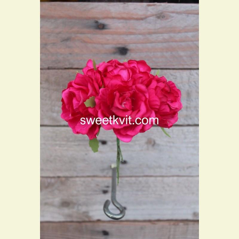 Искусственная роза пучок, 10 см