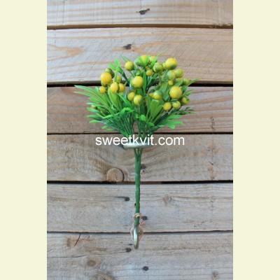 Искусственные ягоды. Рябина ветка, 23 см