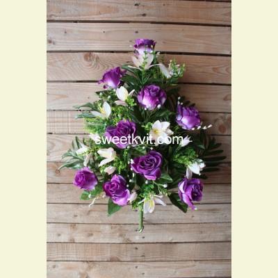 Ритуальный букет роза с лилией, 60 см