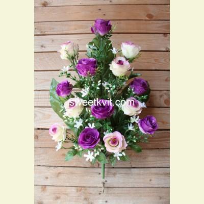 Ритуальный букет роза с колокольчиком, 60 см