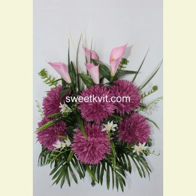 Ритуальный букет хризантема с каллой, 70 см