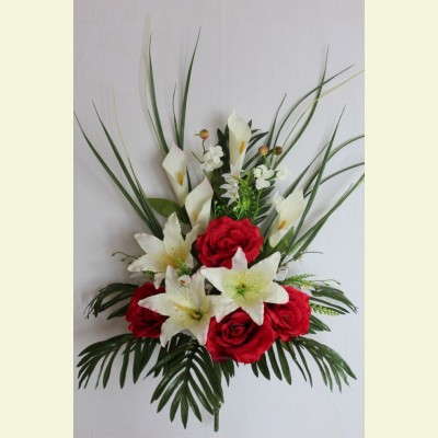 Ритуальный букет роза, лилия, калла, 80 см