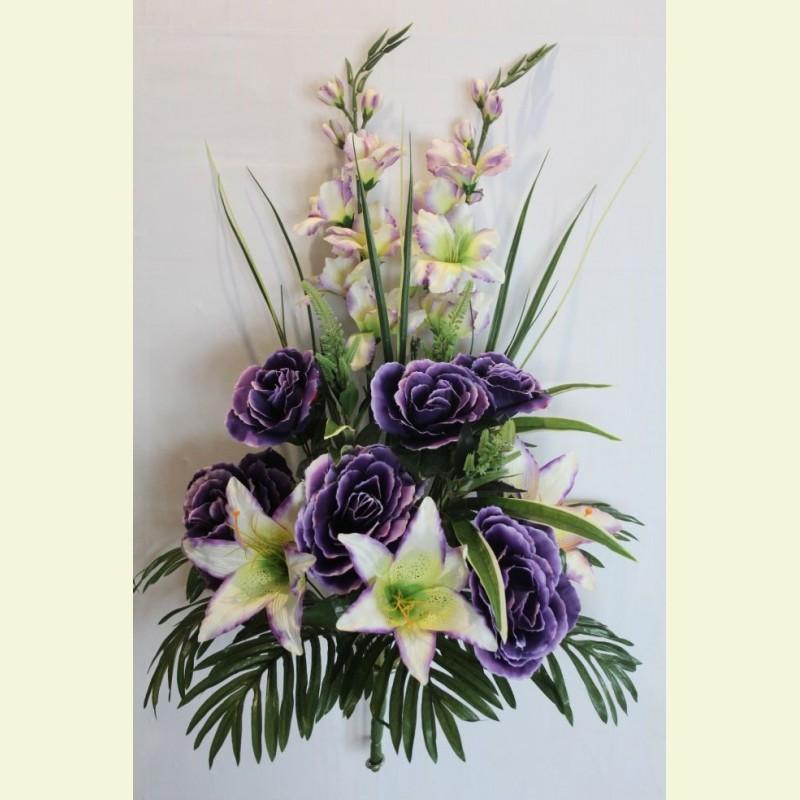 Ритуальный букет роза, лилия, гладиолус, 75 см