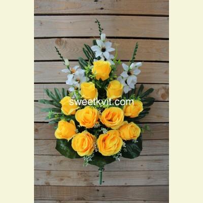 Ритуальный букет роза с гладиолусом, 65 см