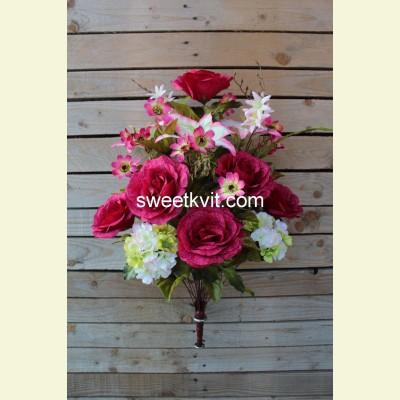 Ритуальный букет роза, лилия, гортензия, 70 см