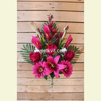 Ритуальный букет лилия, гербера, калла, 60 см