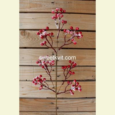 Искусственные ягоды. Ветка заснеженных ягод, 66 см