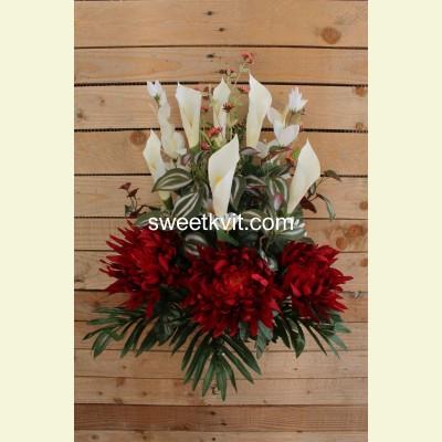 Ритуальный букет хризантема, калла, 76 см
