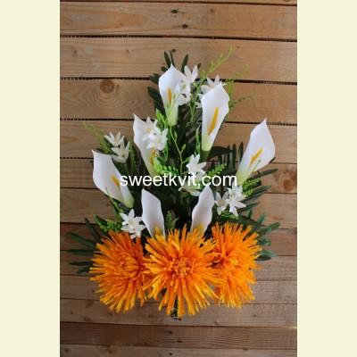 Ритуальный букет хризантема, калла, 65 см