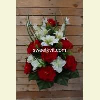 Ритуальный букет пион, лилия, орхидея