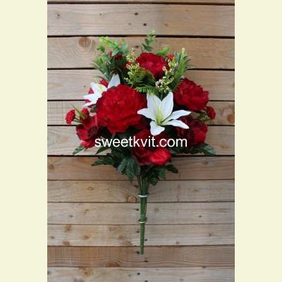 Ритуальный букет пион, анемон, лилия, 66 см