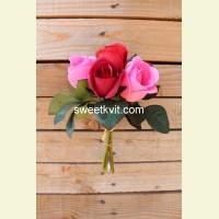 Искусственная роза пучок, 24 см