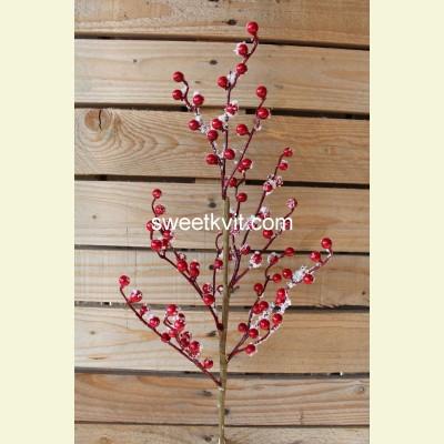 Искусственные ягоды. Ветка заснеженных ягод, 67 см
