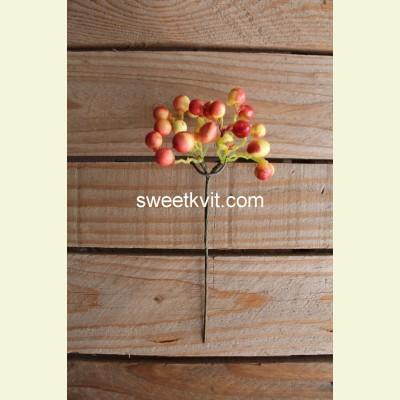 Искусственные ягоды. Рябина ветка, 20 см