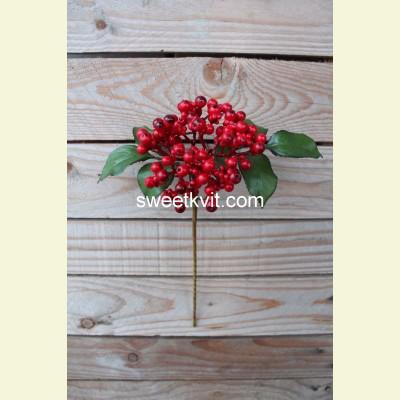 Искусственные ягоды. Рябина ветка, 30 см