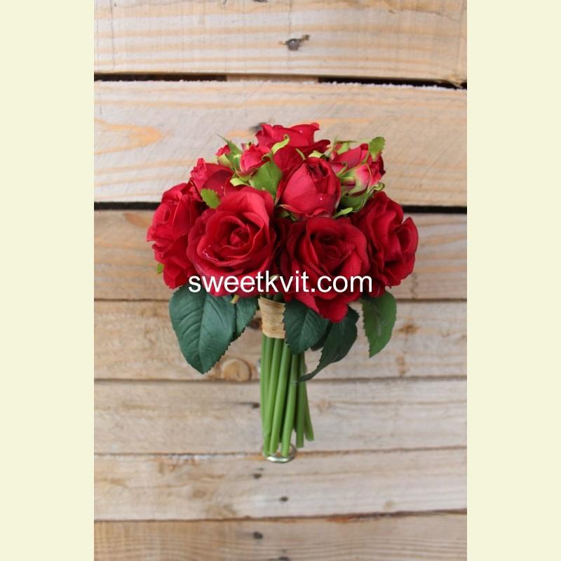 Искусственная роза пучок, 20 см