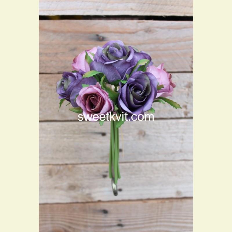 Искусственная роза пучок, 17 см