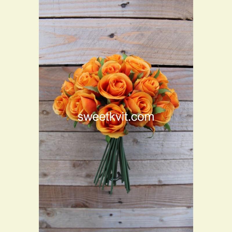 Искусственная роза пучок, 25 см
