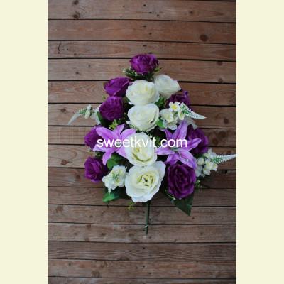 Ритуальный букет роза, лилия,  дельфиниум, 63 см