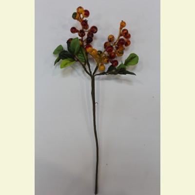 Искусственные ягоды. Брусника ветка, 22 см